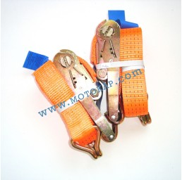 Колан укрепващ 5.0т/6.0м (5.5+0.5м) с тресчотка и 2 куки - оранжев