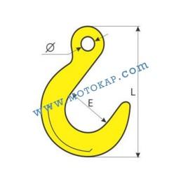 Кука с ухо С-образна с широк отвор 1,58 тона, клас 8, тип KT, SF-4:1