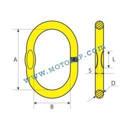Халка единична кръглозвенна, 1,6 тона, клас 8, тип OS, SF-4:1