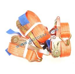 Колан укрепващ 3.0т/8.0м (7.5+0.5м) с тресчотка и 2 куки - оранжев
