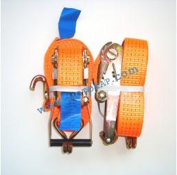 Колан укрепващ 5.0т/8.0м (7.5+0.5м) с тресчотка и 2 куки - оранжев