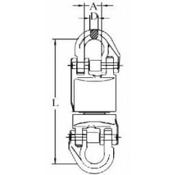 Върток 12,5 тона с лагер и електрическа изолация за верига 20,0 мм, SF 4:1, EN 1677