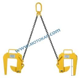 Захват/сапан за бетонни тръби двураменен 2,0 тона 60 ÷ 120 мм 1,5 метра, челюст L=345 мм