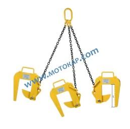 Захват/сапан за бетонни тръби трираменен 3,0 тона 60 ÷ 120 мм 1,5 метра, челюст L=245 мм